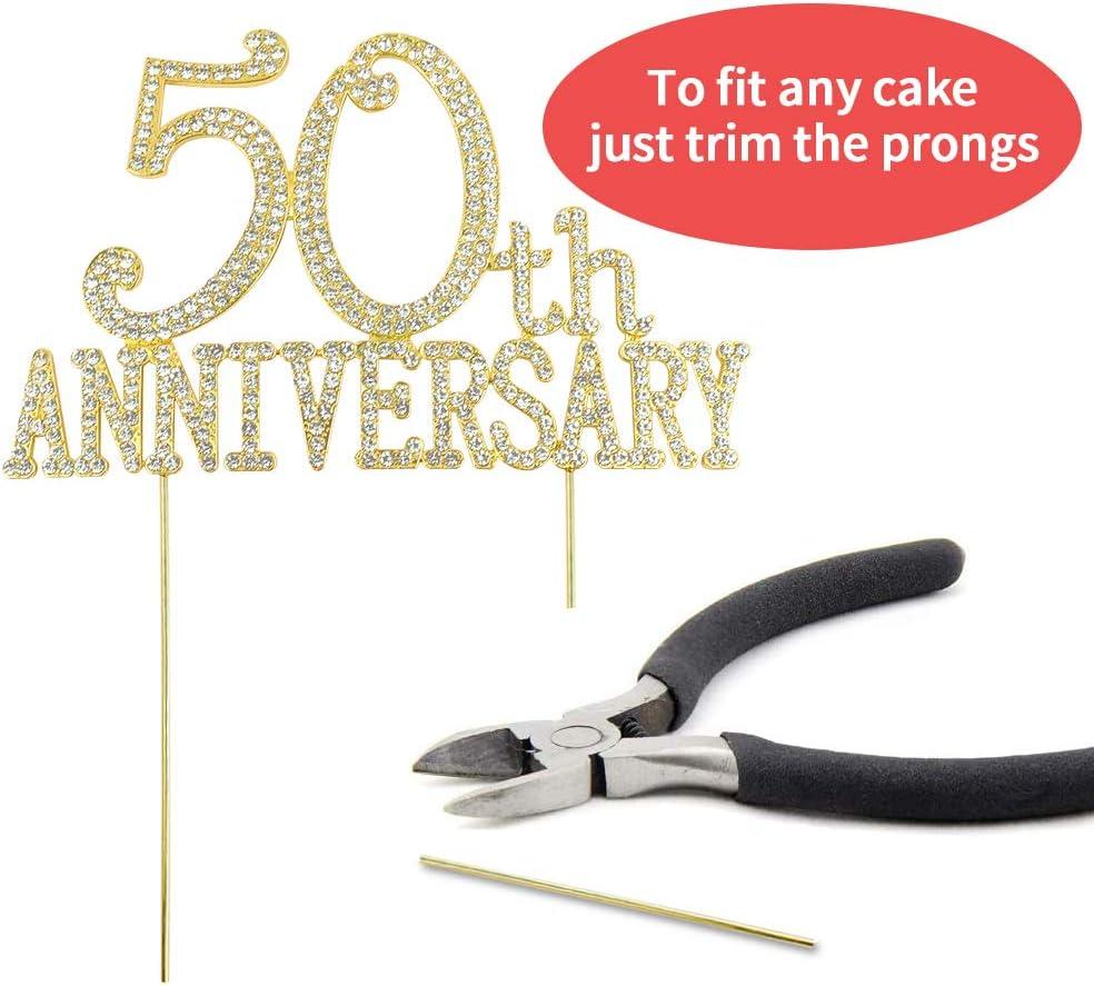 Premium Metal 50th Wedding Anniversary Cake Topper Rhinestone Gem 50 Years Anniversary Party Decorations Pimvimcim 50th Anniversary Cake Topper Decoration