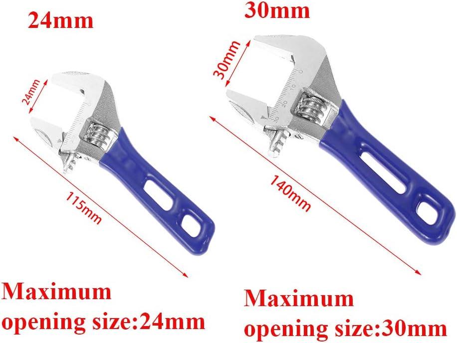 Mutterschl/üssel mit gro/ßer /Öffnung Verstellbarer Schraubenschl/üssel Rohrzange 24//30 mm Heimreparatur-Set Multifunktions-Handwerkzeug