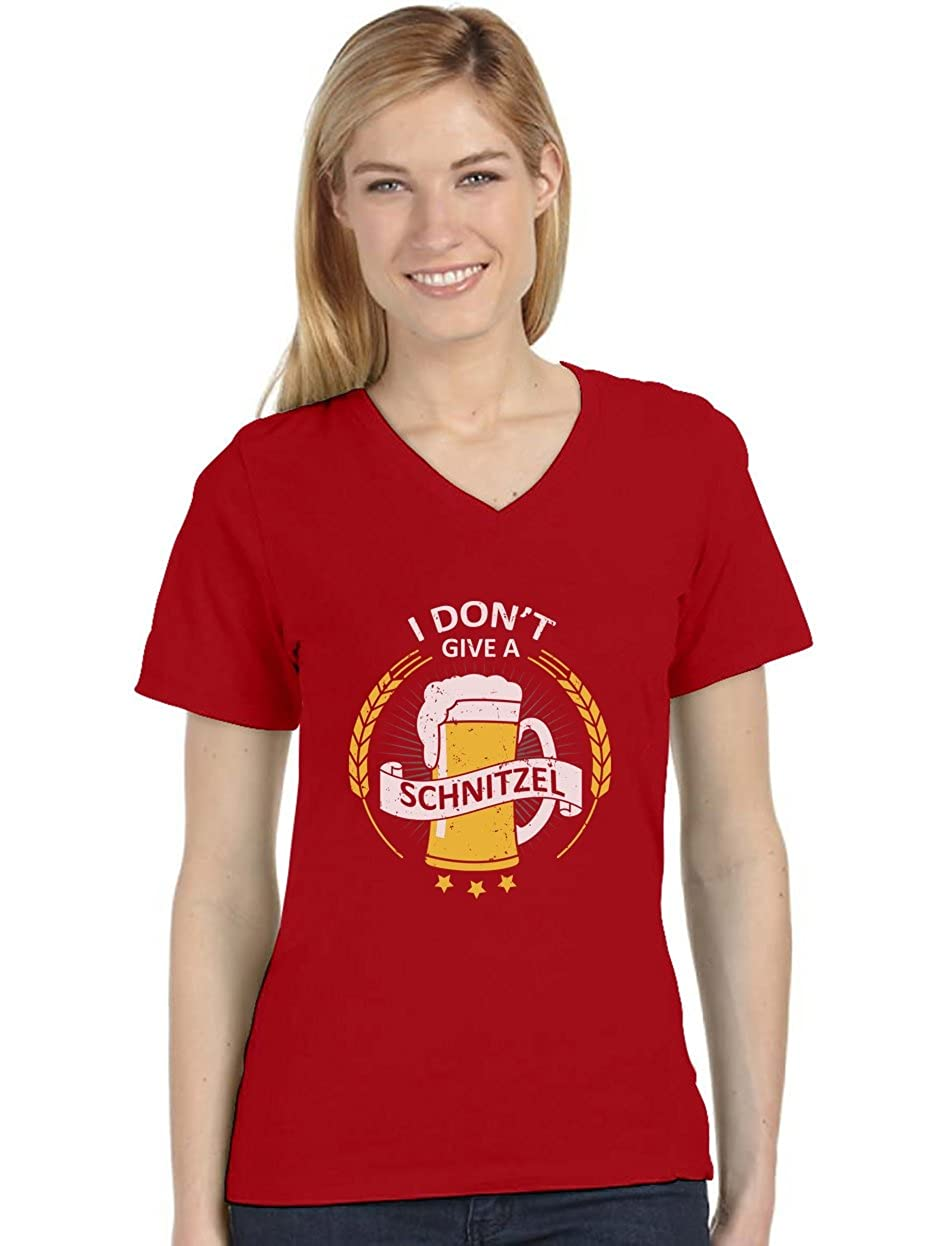 TeeStars - I Don't Give a Schnitzel Oktoberfest Beer V-Neck Fitted Women T-Shirt GMPlhMMgbu