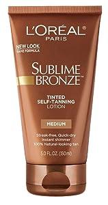 L'Oreal SUBLIME BRONZE Tinted Self-Tanning Lotion Medium Natural Tan 5 oz (Pack of 3)