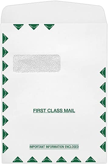 912DW-28WST-250 28lb Invoices or Statements 9 x 12 Open End Double Window Envelopes Important Documents   Perfect for Tax Season Letters White w//Security Tint 250 Qty.