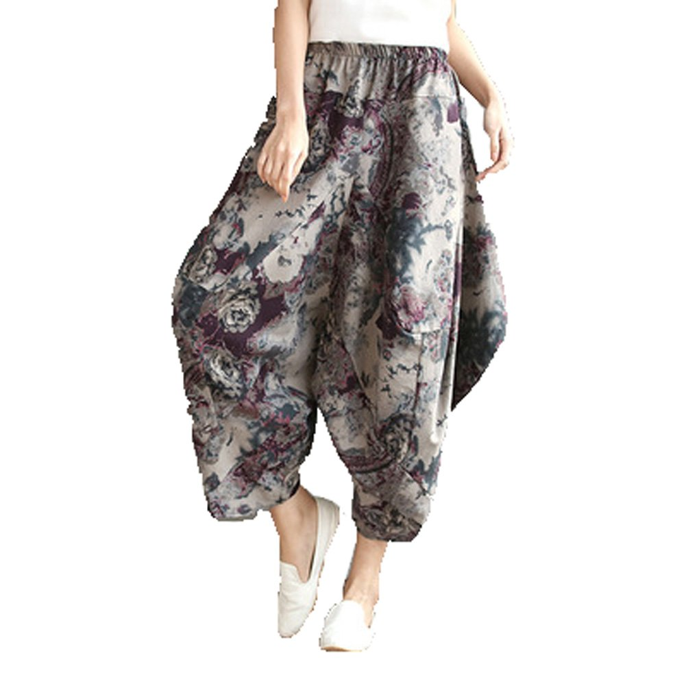 Dinier Girls Baggy Loose Drop-Crotch Elastic Waist Cotton Linen Harem Pants Girls Summer Floral Checkered Basic Casual Trousers One Size