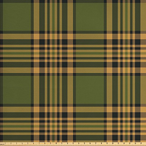 Old Fashioned Fabric (Lunarable Plaid Fabric by the Yard, Tartan Pattern in Autumn Tones Old Fashioned Design Country Illustration, Decorative Fabric for Upholstery and Home Accents, Olive Green Mustard)
