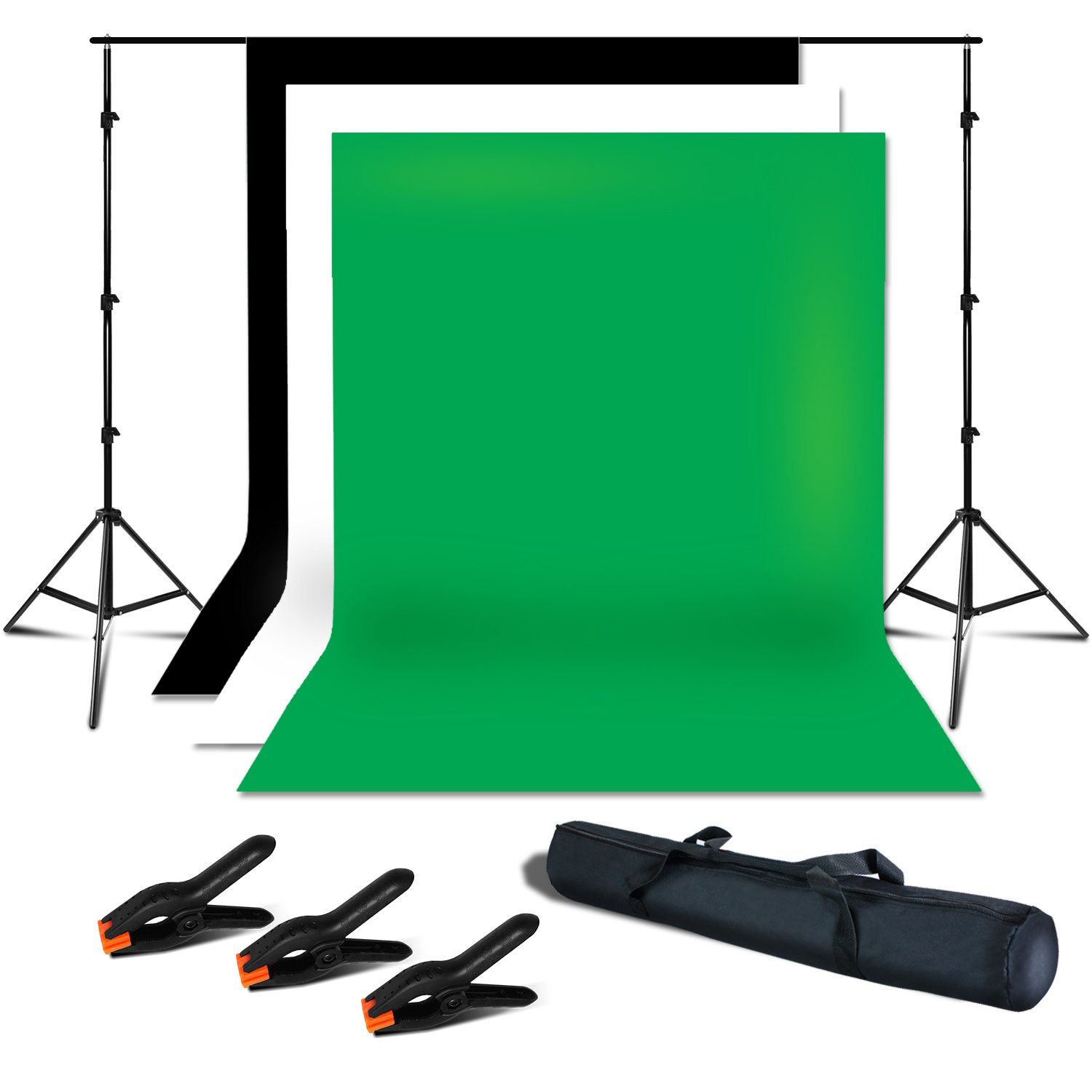 Julius Studio Photo Studio 7.5 x 10 ft. Adjustable Background Support Stand, Backdrop Support System Kit with 6 x 9 ft. White, Black, Green Muslin Backdrop and Background Spring Clamps, JSAG286
