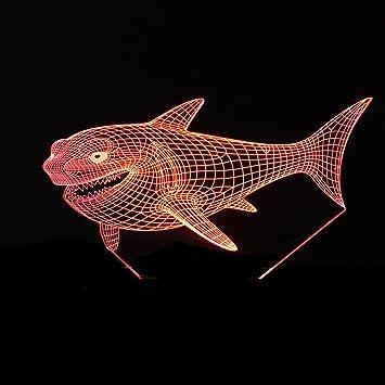 LT&NT Tiburón 3d ilusión óptica visual luz de la noche, Táctil y control remoto escritorio
