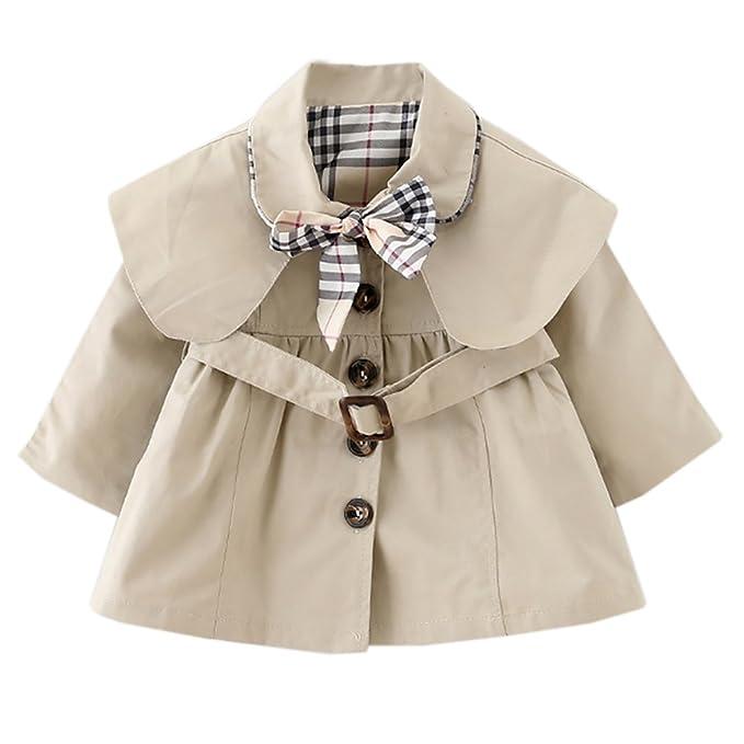 the best attitude c5250 2a01e Dr. mama Cappotto - Cappottino Bambina Bimba con Fiocco Cintura Giacca  Classico Elegante Fashion