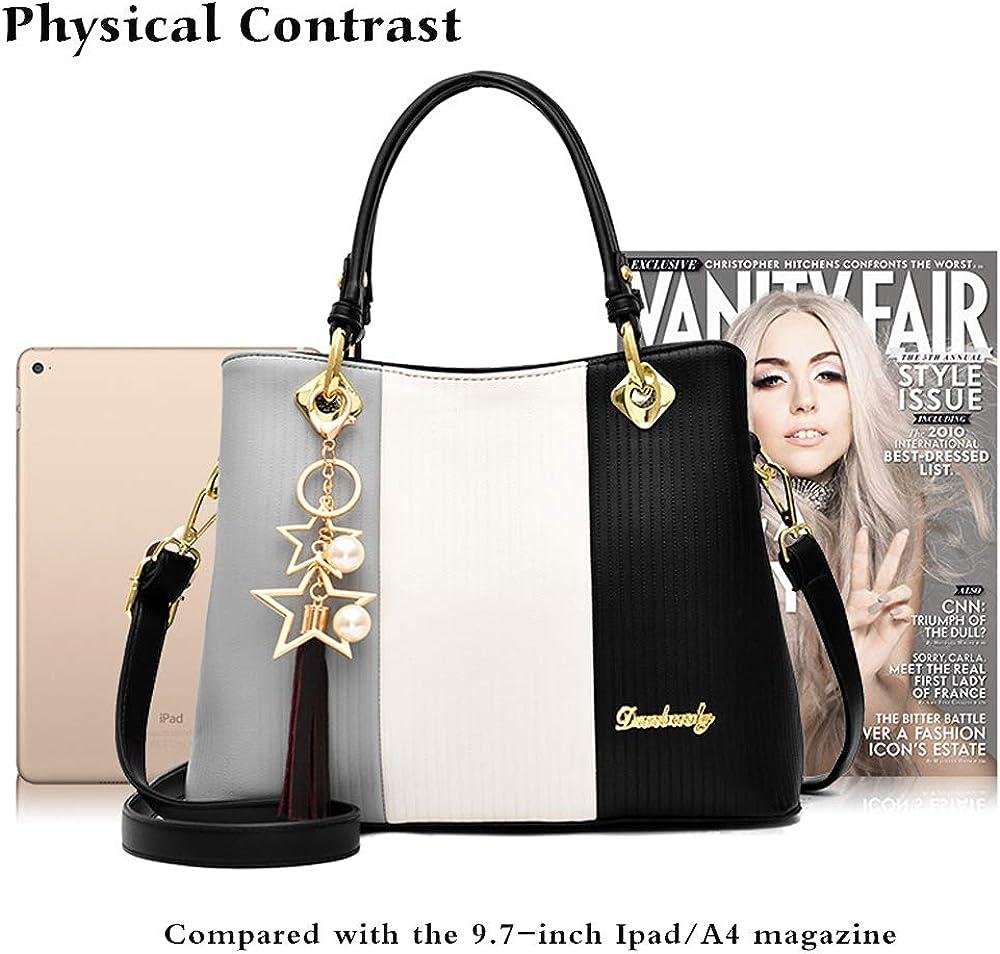 Chikencall® Women Clacssic Tote Bag Fashion Handbag And Purses designer PU leather Shoulder Bag Top Handle Satchel with Star Pendant Khaki