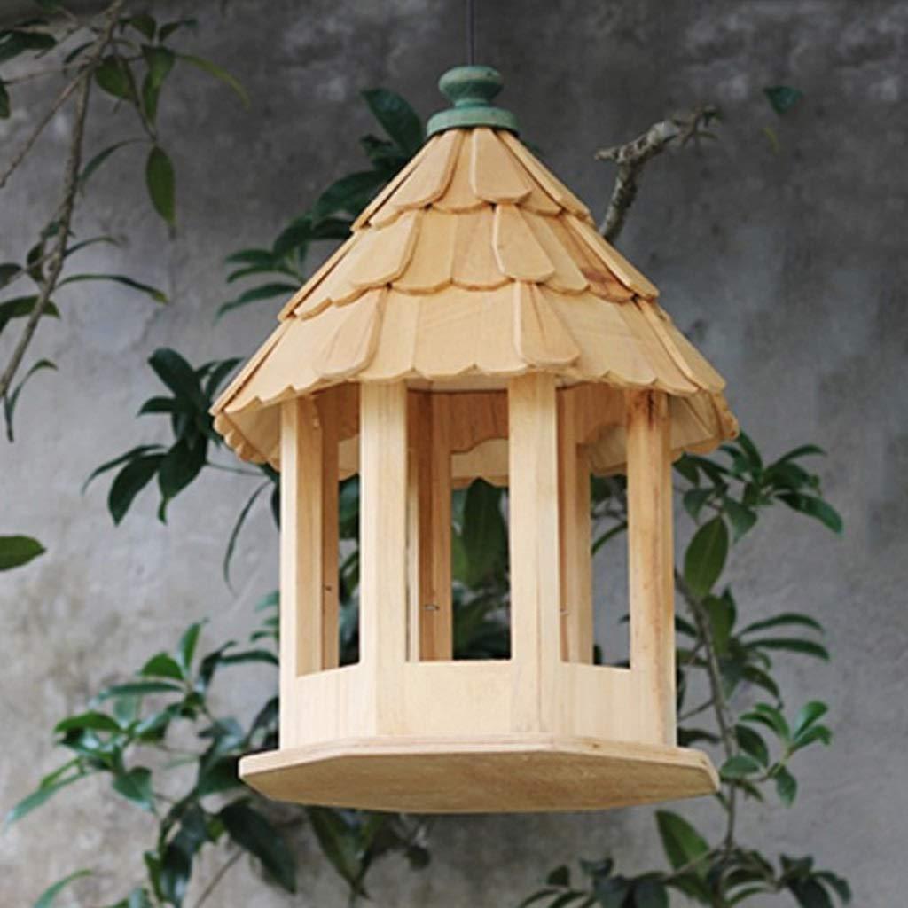XingKunBMshop Bird Feeder House, Classical Gothic Garden Bird Feeding Station, Hanging Wooden Seed Feeder Bird Food Tray,Balcony by XingKunBMshop