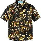SSLR Big Boy's Leopard Casual Button Down Hawaiian Short Sleeve Shirt (X-Large(18-20), Black)