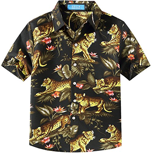 Shirt Street Hawaiian (SSLR Big Boy's Leopard Print Button Down Short Sleeve Hawaiian Shirt (Large (14-16), Black))