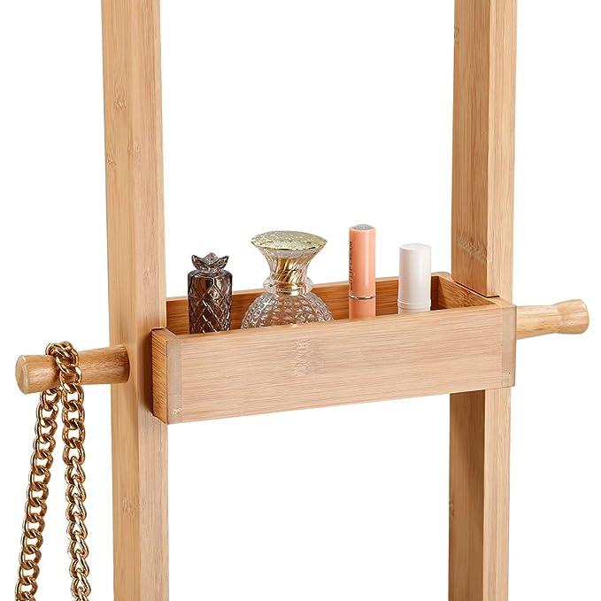 LANGRIA Moderno Perchero de Pie en Bambú Estilo Escandinavo con 18 Ganchos 1 Bandeja a Media Altura y Base Rectangular Sólida con Protectores Anti ...