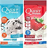 Quest Nutrition Quest Protein NEPnTm Powder, Cookies and Cream/Strawberries & Cream 24 Count (12 of Each)
