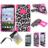 For ZTE Lever Z936L ITUFFY (TM) 3items Combo: LCD Screen Protector Film + Stylus Pen + Dual Layer Impact Resistance Hybrid Armor Case Built-In Kickstand (Pink Leopard)