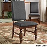 Cheap ModHaus Living Modern Rustic Upholstered Accent Dining Chairs with Nailhead and Wood Legs (Set of 2) – Includes Pen (Dark Grey Linen)