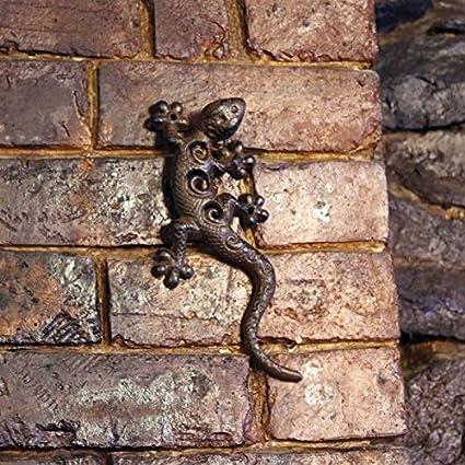 Garden Mile Vintage Estilo Antiguo PESADO HIERRO FUNDIDO Geco Escalada Decoración de pared, Decorativo Rústico Decoración hogar adorno de Jardín Placa ...