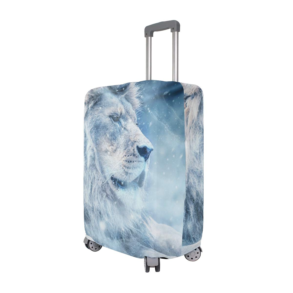 Baggage Covers Lion Lying Winter Cold Snow Ice White Washable Protective Case