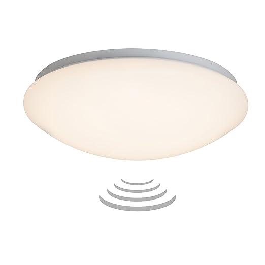 LED lámpara de techo con sensor de movimiento, IP44, diámetro 33 cm, 12 Watt bombilla LED, 800 lumens, 3000 K luz blanca cálida, de ...