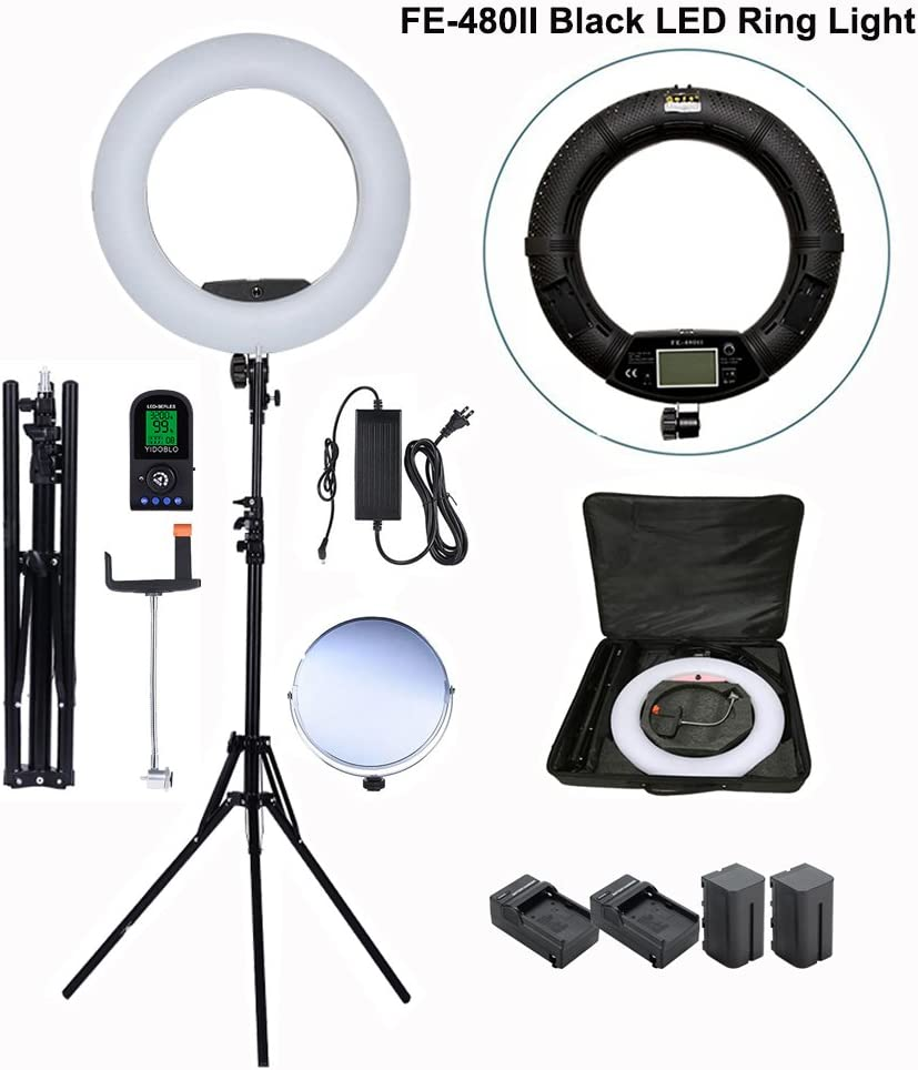 Mirror Batteries/&Chargers Phone//Camera Holder Carry Bag Light Stand Yidoblo 96W 18 LED Ring Light Kit FE-480II Black Photo Studio Video Portrait Selfie Makeup Youtub Lighting Bicolor with Remote
