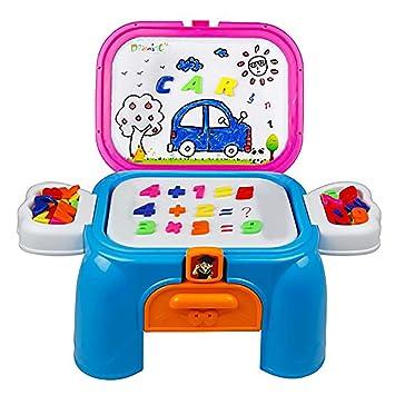 yp Pizarra Magnética Infantil - Tablero de Dibujo Portátil Juego de Magnetico con Letras y Números 54PCS Juegos Educativos Niños 3 4 5 Años (Taburete)