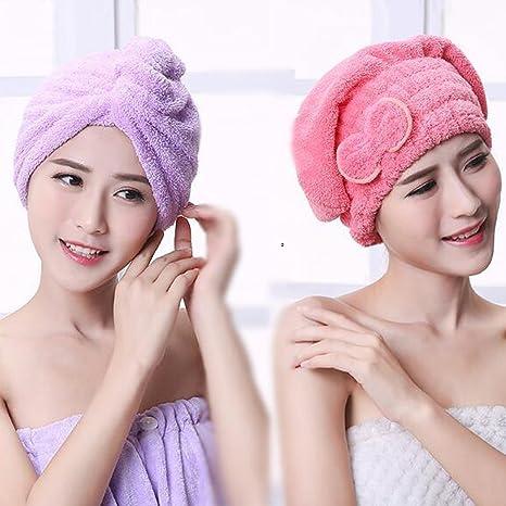 uctop Store 2 Sets pelo turbante toalla anuda rápido secado absorbente de microfibra cabello seco Cap para baño SPA (1 luz púrpura Triángulo Cap y 1 rojo ...