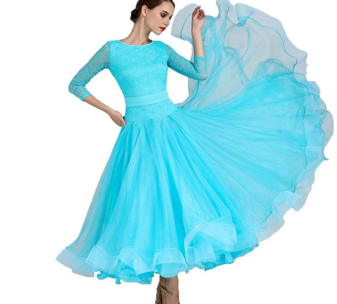 bleu L SMACO Robe De Danse Moderne pour Femmes, Robes Costumes De Danse Moderne Valse Robes De Danse Standard pour Les Femmes Compétition De Perforhommece Professionnelle