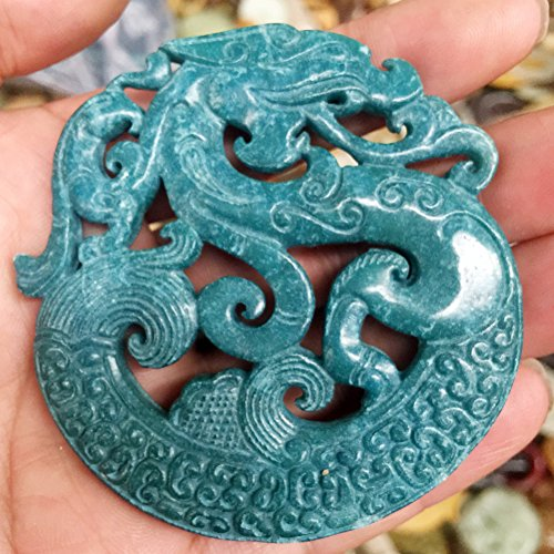 Blue Jade Dragon (CHINA HANDWORK CARVE OLD blue green JADE dragon STATUE PENDANT)