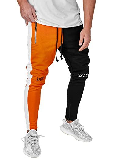 Burocs Herren Jogginghose Pants Colour Block Schwarz Weiß Rot Orange BR5073