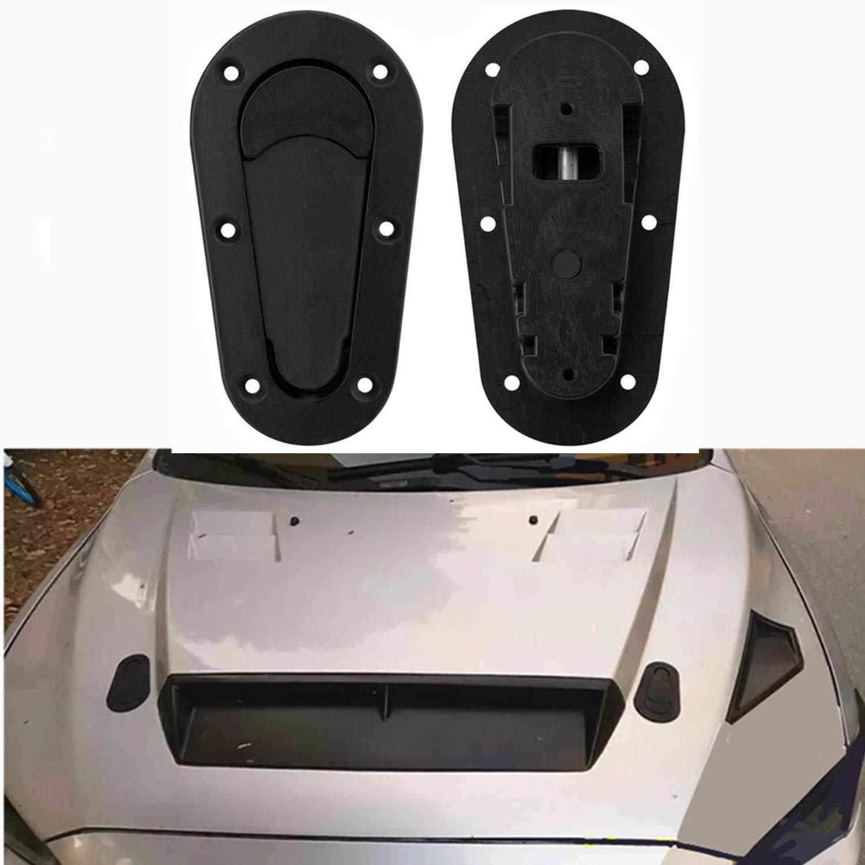 Black CICMOD 2 Pcs Universal Racing Sport Mount Bonnet Hood Latch Pin Key Car Front Hood Lock Pins Without Lock Kit
