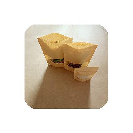 100 bolsas de papel kraft con cierre para regalos, comida ...