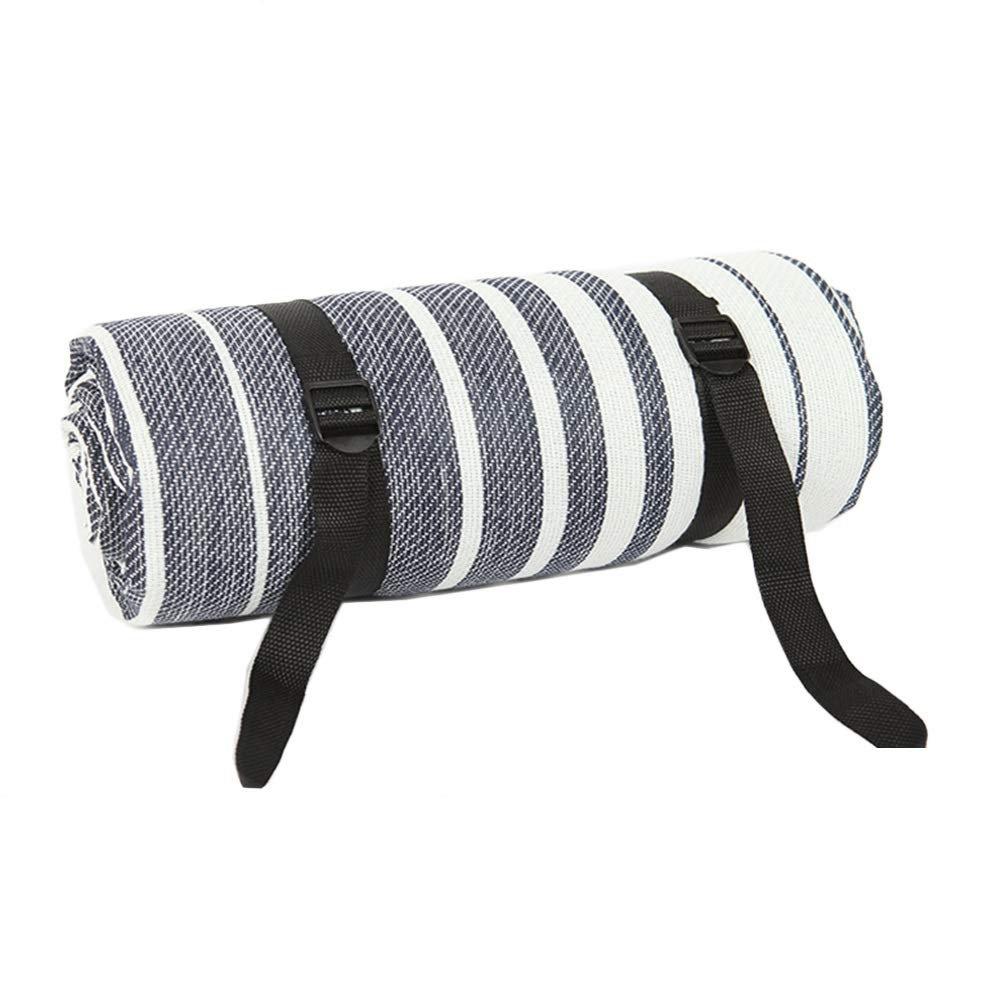 Picnic Blanket Large Lightweight, Waterproof Sandproof Beach Blanket, Ground/Grass Mat, Folding Outdoor Camping Mat, Blue White Stripes (Size : 150x200cm)