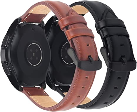 Genuine Leather Bands for Samsung Galaxy Watch Active2 44mm 40mm, 2 Pack Softer Leather Watch Straps with Black Metal Clasp for Galaxy Watch Active 2