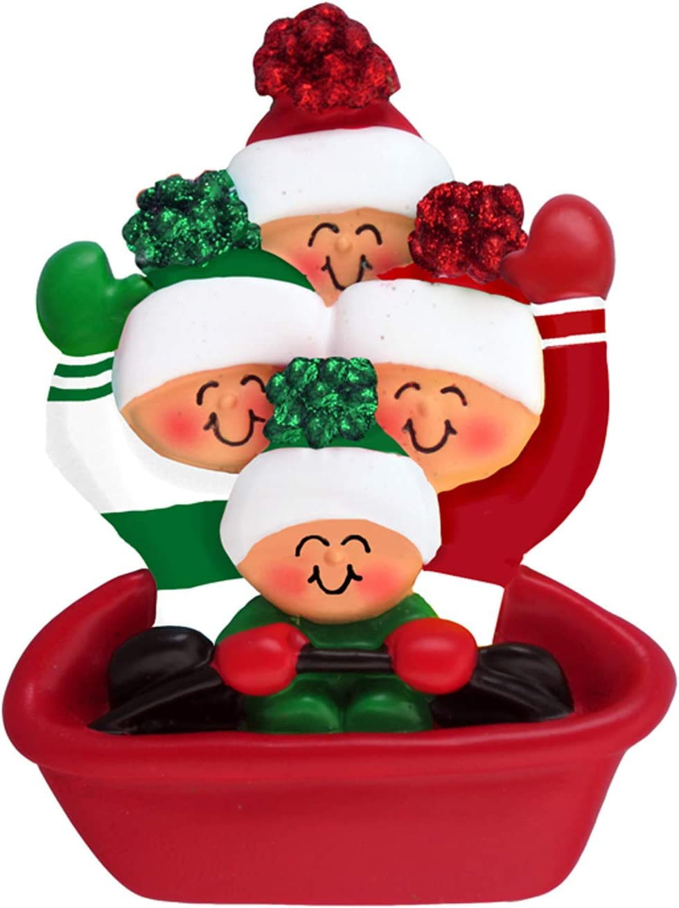 Amazon Com Personalized Sledding Family Of 4 Christmas Tree Ornament 2020 Parents Children Friends Glitter Bow Hat Tubing Slide Downhill Snow Winter Activity Tradition Free Customization Four Home Kitchen