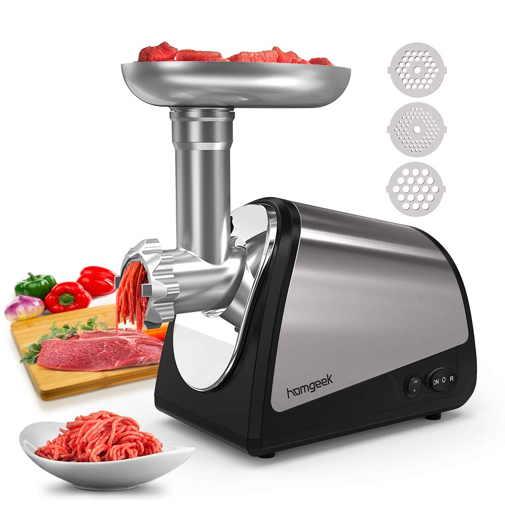Homgeek Electric Meat Grinder, Meat Machine Sausage Maker, Stainless Steel Meat Mincer Sausage Stuffer, Heavy Duty Food Processing Machine With 3 Cutting Blades and Stuffing Tubes