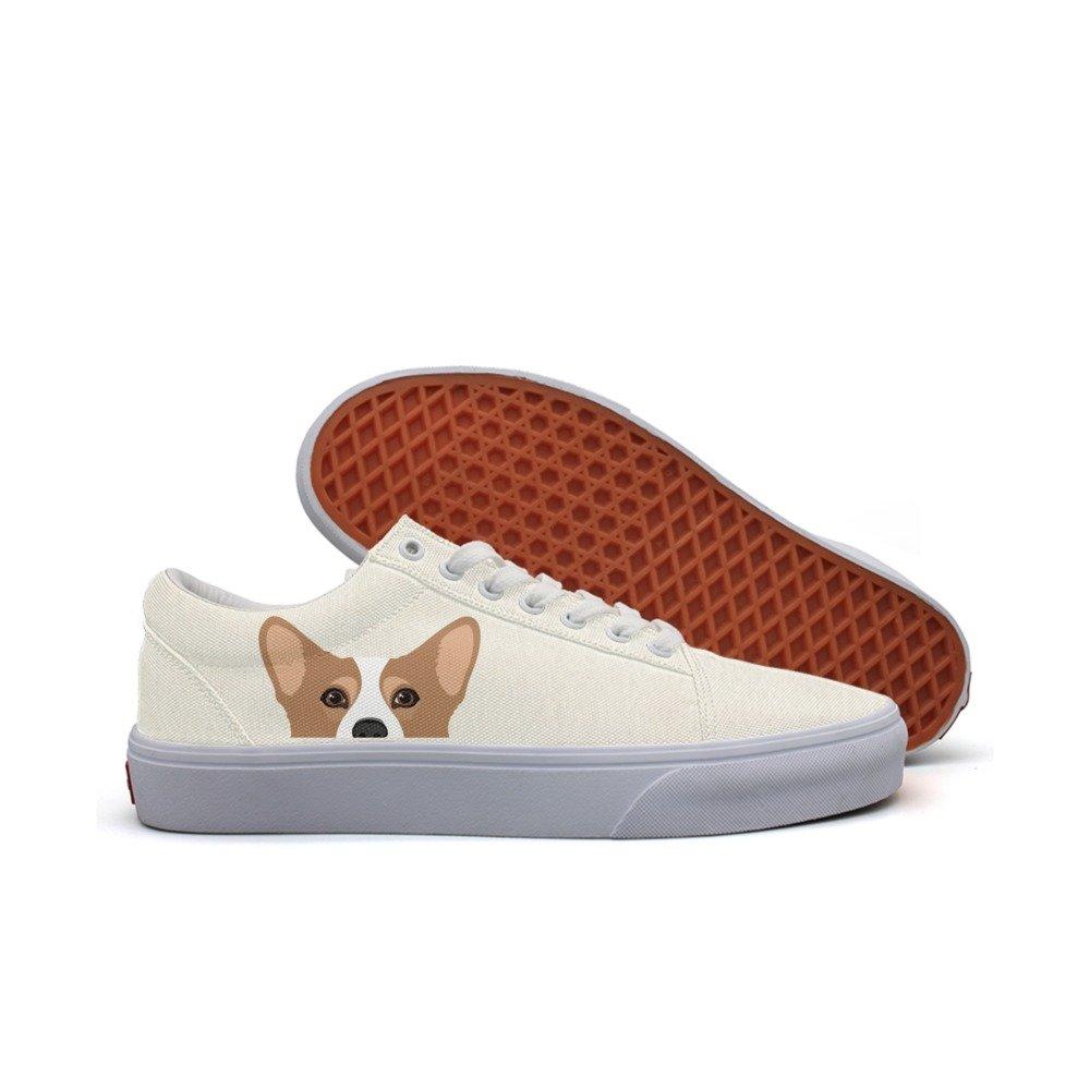 dacb88f4b72bb Amazon.com: LJDGOJ Cute Corgi Dog Women Canvas Running Sneakers ...