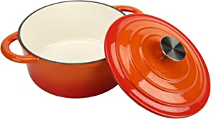 COOKWIN Enameled Cast Iron Dutch Oven with Self Basting Lid, Non-stick Enamel Coated Cookware Pot, Orange, 2.9 QT