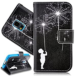 LiaoCity @ PU Leather Case for Samsung Galaxy S5 Mini Black Fashion Wallet Pocket Flip Cover Cell Phone Hoslter with Magnet Closure and Card Slots Holster Bookstyle Stand Function Protective Cover - Dandelion and Child