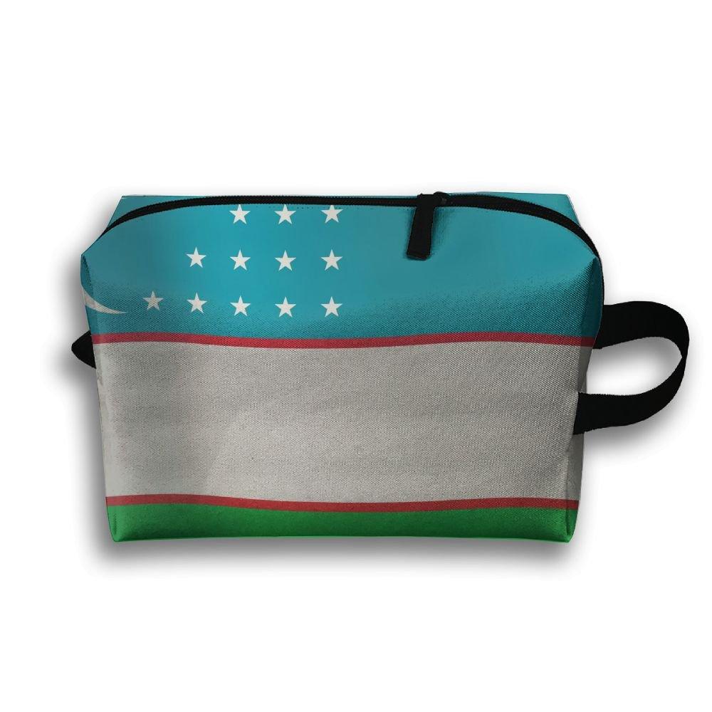 Uzbekistan Flag Small Travel Toiletry Bagスーパーライトトイレタリーオーガナイザー一泊旅行用バッグ B07B9RF9RD