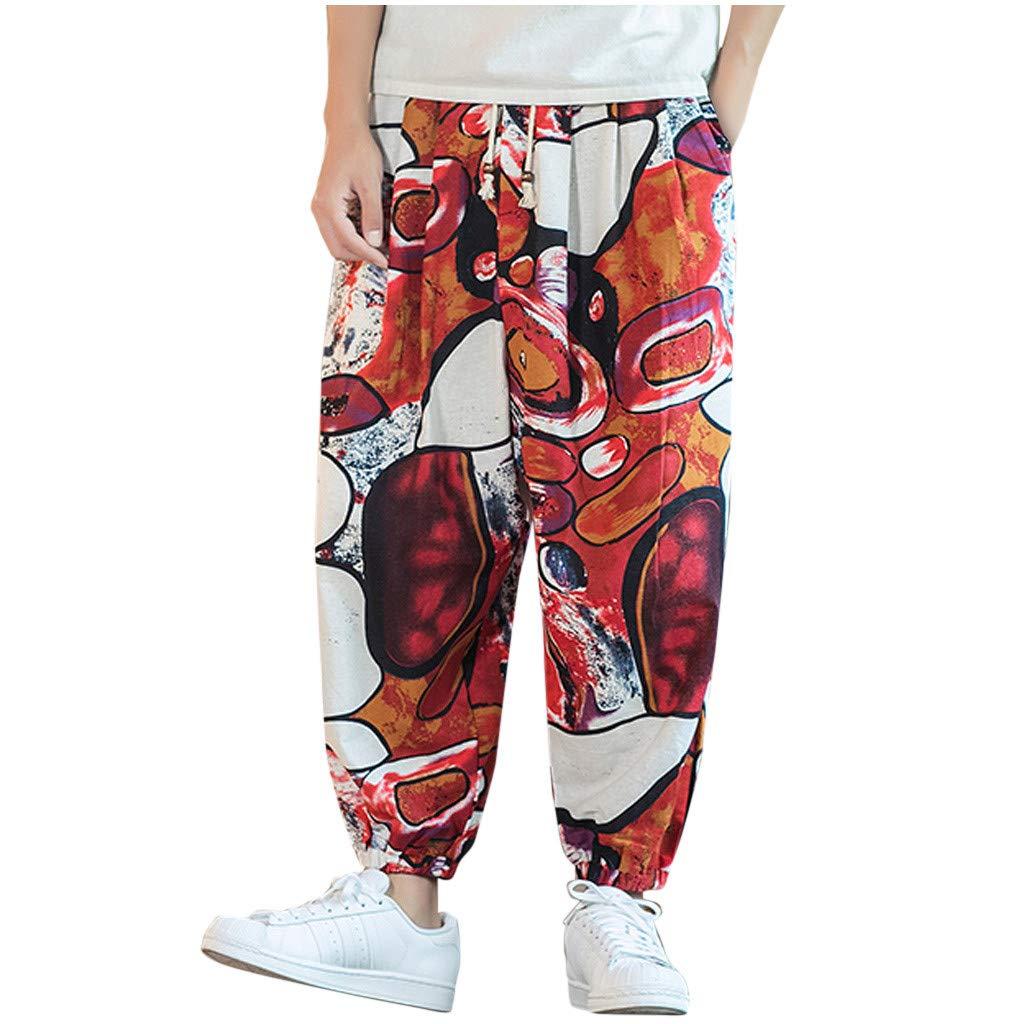 FEDULK Men's Vintage Lantern Pant Plus Size Retro Ethnic Print Cotton Linen Holiday Casual Baggy Trousers(White, XXXX-Large) by FEDULK
