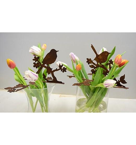 Metallmichl Edelrost Vogel mit Blütenzweig 15,5 cm hoch - Deko und ...