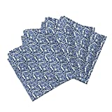 Roostery Blue Linen Cotton Dinner Napkins Table Tiles by Amyvail Set of 4 Cotton Dinner Napkins Made