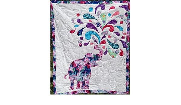 Amazon Joyful Elephant Wall Hanging Lap Quilt Handmade