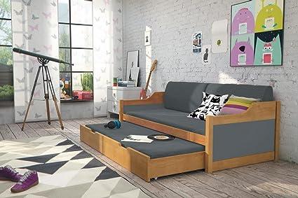 Cama doble DAVID 185/80 color ALISO + 2 colchones