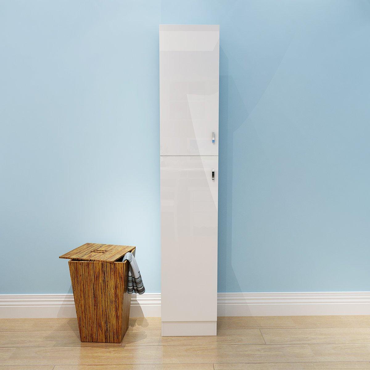 PANANASTORE 1900mm Tall Gloss Bathroom Furniture Storage Cabinet Cupboard Unit White