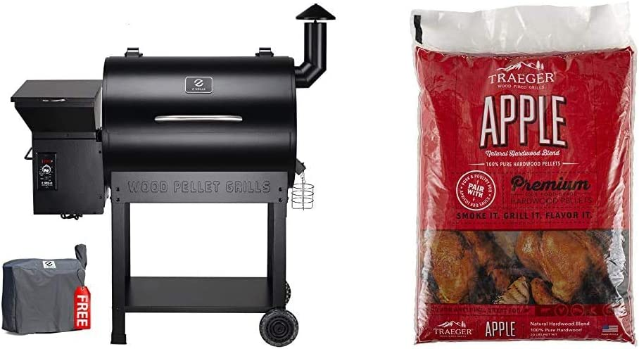 Z Grills ZPG-7002B 2020 Upgrade Wood Pellet Grill & Smoker in Black & Traeger Grills PEL318 Apple 100% All-Natural Hardwood Pellets - Grill, Smoke, Bake, Roast, Braise, and BBQ (20 lb. Bag)
