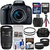 Canon EOS Rebel T7i Digital SLR Camera & EF-S 18-55mm + 55-250mm is STM Lens + 32GB Card + Case + Flash + Tripod + Filters + Tele/Wide Lens Kit