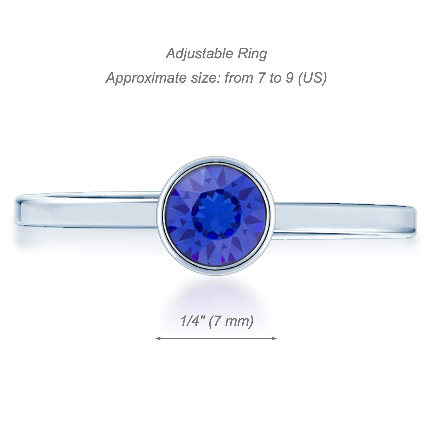 Ed Heart Womens Adjustable Ring with Round Crystals from Swarovski