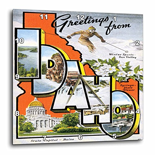 3dRose Greetings From Idaho Sun Valley Boise with Scenes from The State - Wall Clock, 10 by 10-Inch (Boise State Desk Clock)