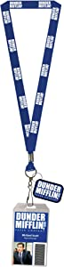 The Office Dunder Mifflin Costume Lanyard Dwight or Michael Clear ID Badge Holder