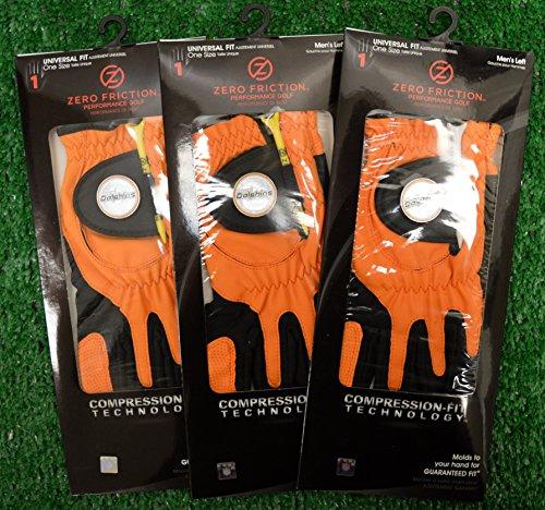 3 Zero Friction Men's Left Hand Universal Golf Gloves - Miami Dolphins - Orange by Friction