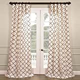 HPD HALF PRICE DRAPES PTFFLK-C22B-108 Flocked Faux Silk Curtain, 50 x 108, Pavillion Pearl Review